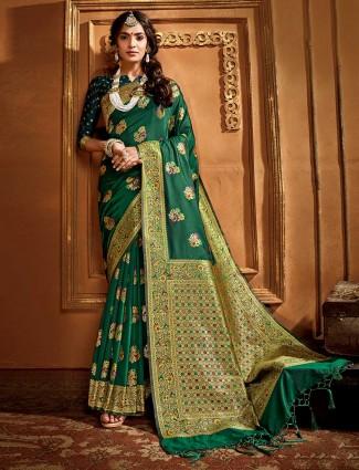 Green banarasi silk saree for wedding season