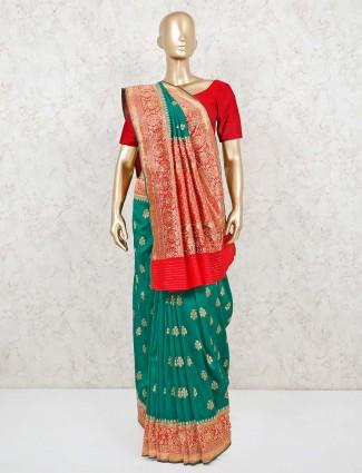 Green banarasi silk saree for weddings
