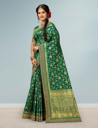 Green banarasi silk wedding function saree