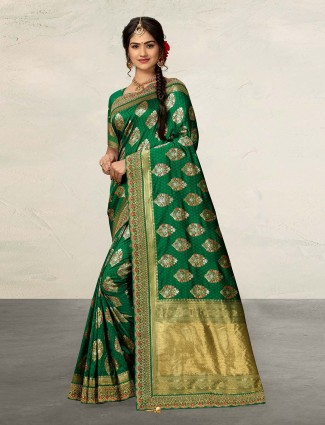 Green banarasi silk wedding wear saree