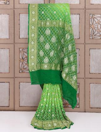 Green bandhej fabric saree