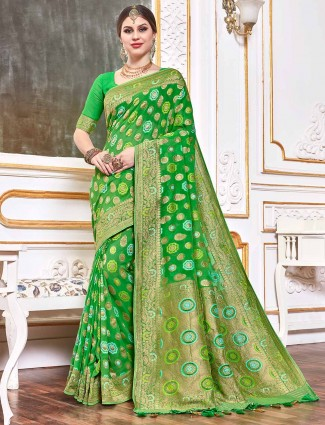 Green bandhej georgette saree for weddings