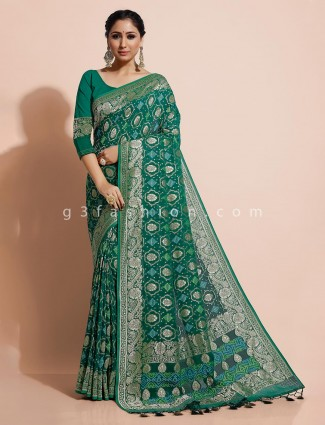 Green bandhej georgette zari weaving saree for weddings