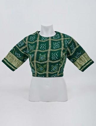 Green bandhej round neck readymade saree blouse