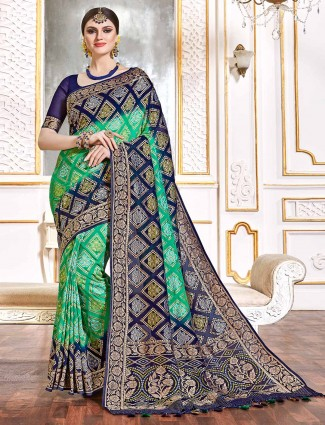 Green bandhej saree in georgette for wedding