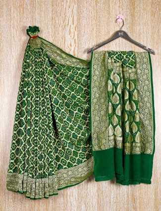 Green bandhej traditional saree for wedding