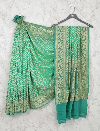 Green Bandhej Wedding Wear Saree