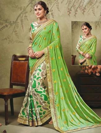 Green beige brasso art silk half and half saree