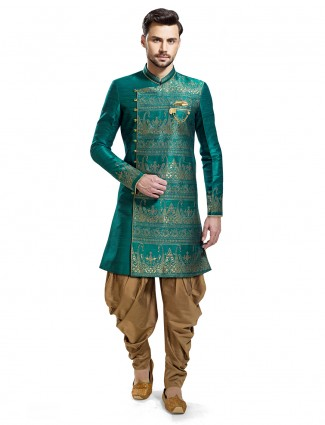 Green beige silk wedding wear kurta suit