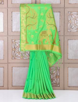 Green bhagalpuri silk saree for festivals
