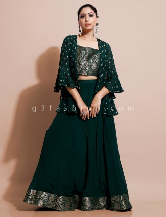 Green blouse and lehenga with jacket in cotton silk for party