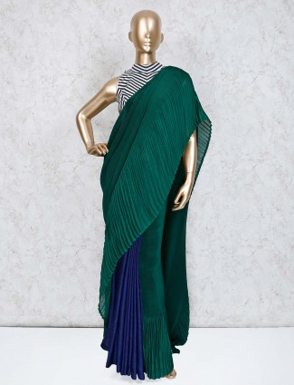 Green blue crush satin saree with stripe ready made blouse