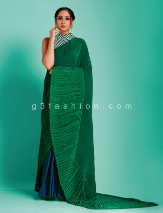 Blue and green half and half  party wear crush satin with stripe readymade blouse