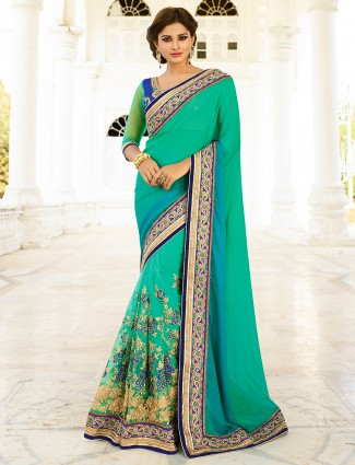 Green blue satin net saree