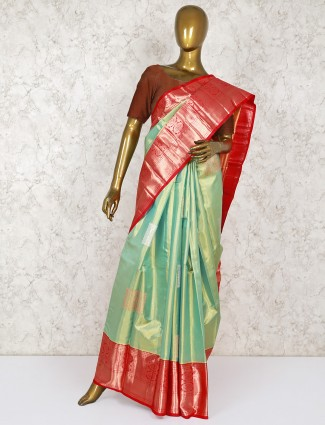 Light green Two tone bridal wear saree in kanjivaram silk