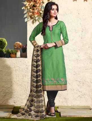 Green chanderi silk salwar suit