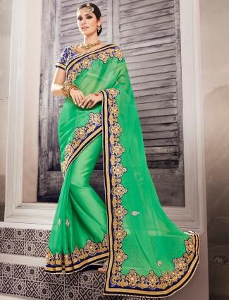 Green classy georgette designer saree
