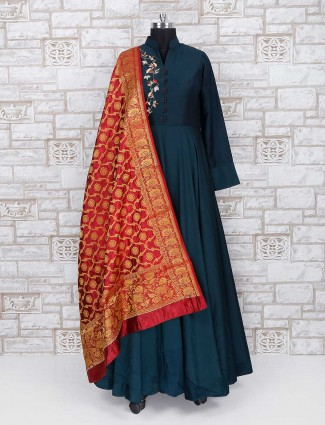 Green color anarkali for party wear