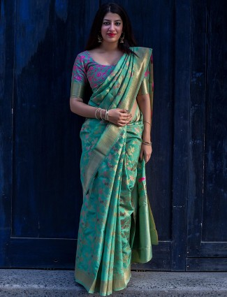 Green color banarasi silk fabric saree