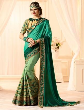 Green color chiffon fabric saree