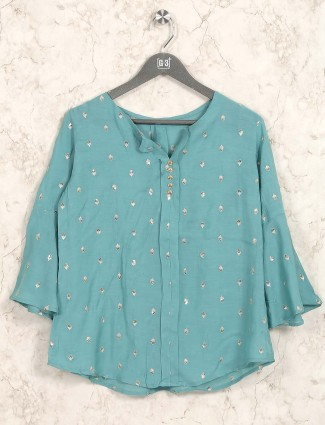 Green color cotton casual top