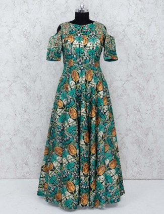 Green color cotton festive gown