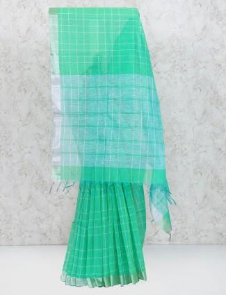 Green color cotton silk designer saree