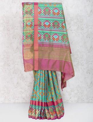 Green color cotton silk festive wear saree