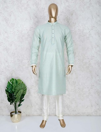 Green color cotton stand collar kurta suit
