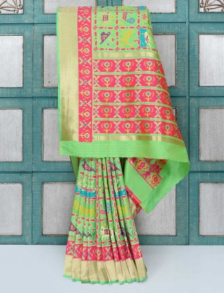 Green color designer wedding saree