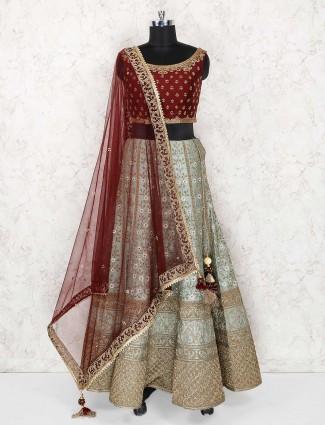 Green color exclusive wedding wear silk lehenga choli