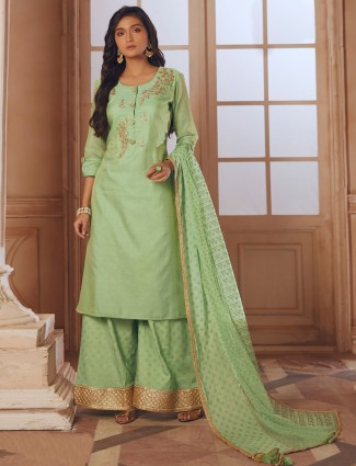 Green color festive function palazzo suit