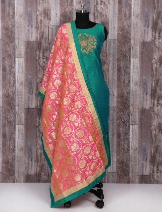 Green color festive salwar suit