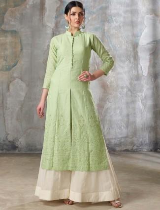 Green color festive wear pakistani sharara suit