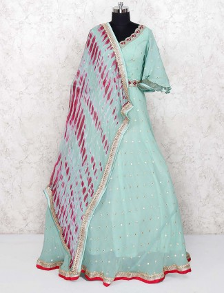Green color georgette gown
