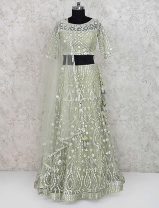Green color gorgeous net lehenga choli