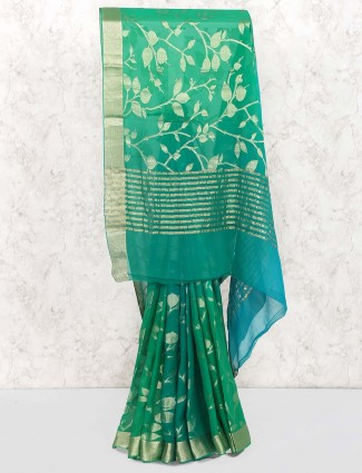 Green color gorgeous georgette saree
