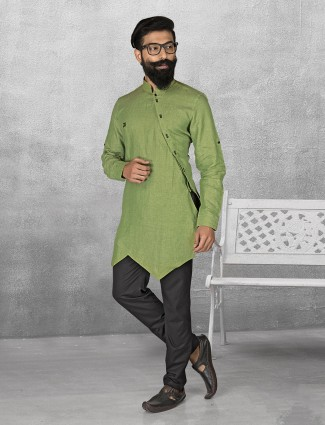 Green color linen kurta suit