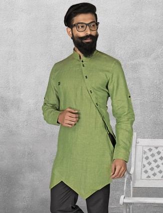 Green color linen short pathani