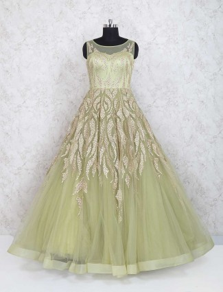 Green color net gown