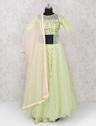Green color party wear indo western lehenga choli