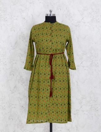 Green color printed casual kurti