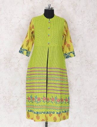 Green color printed punjabi style palazzo suit