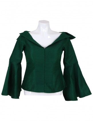 Green color raw silk dressy ready made blouse