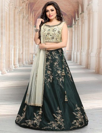 Green color raw silk lovely lehenga choli