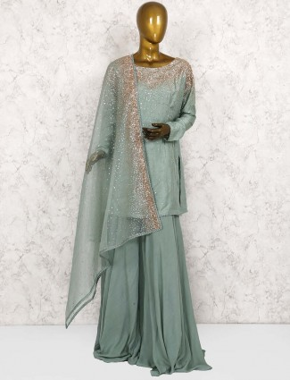 Green color raw silk punjabi palazzo suit