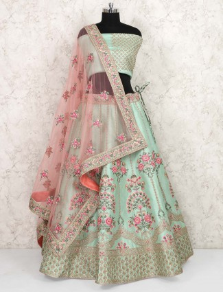 Green color raw silk wedding semi stitched lehenga choli