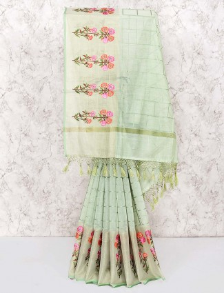 Green color saree in cotton fabric