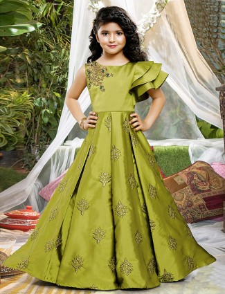 Green color satin floor length gown