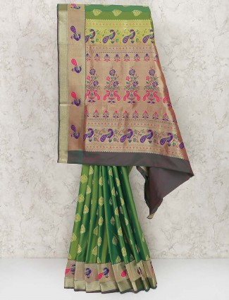 Green color semi silk fabric festive saree